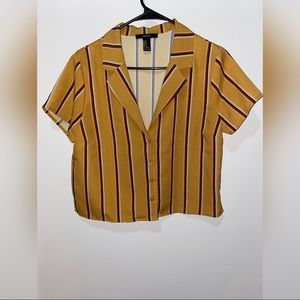 Forever 21 mustard striped cropped collared shirt